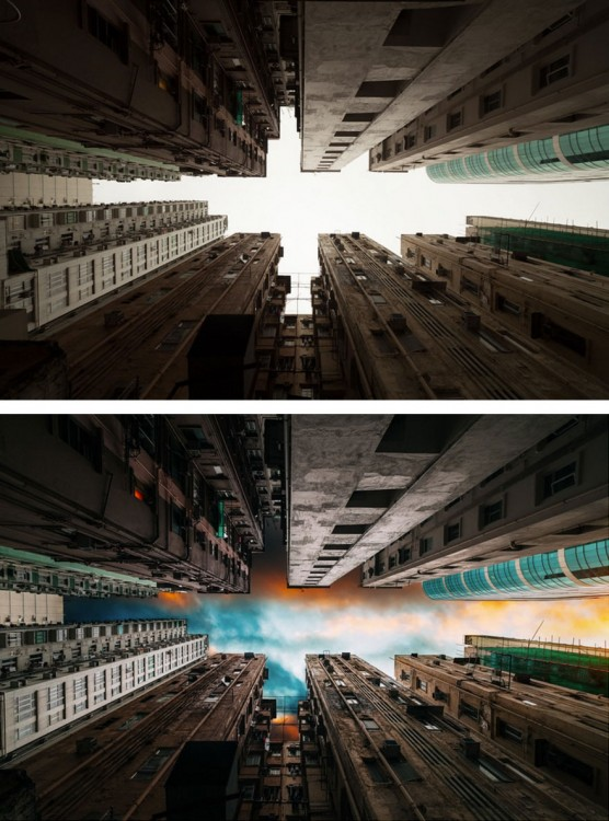 antes y después de la edición de una fotografía