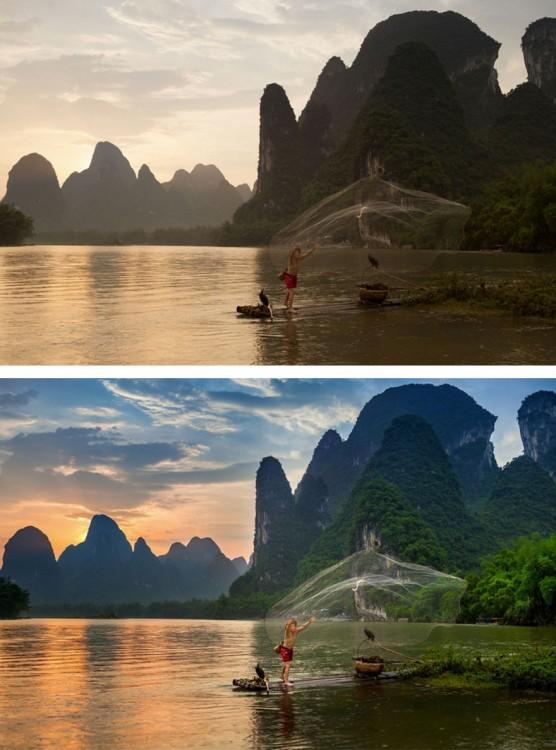Fotografía de un chico de pesca antes y después de la edición en Photoshop