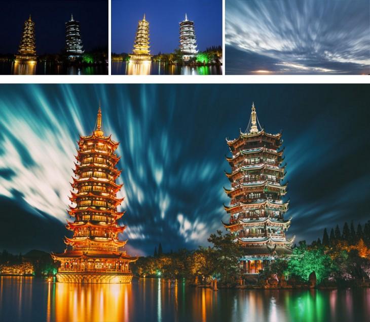 evolución de una fotografía de unas torres con edición en photoshop