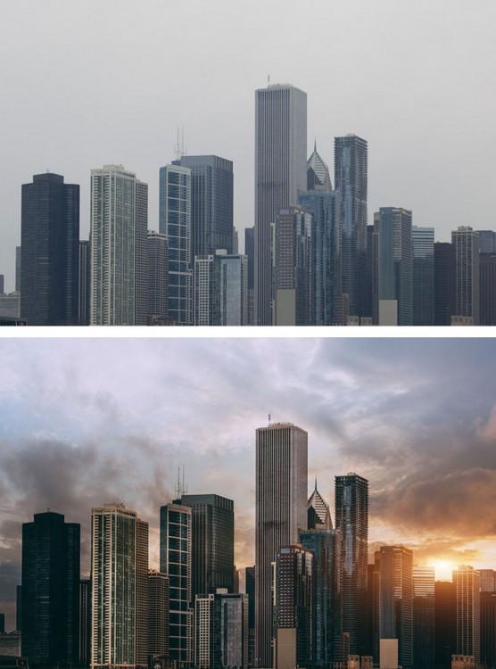 fotografía del antes y después del photoshop en unos edificios