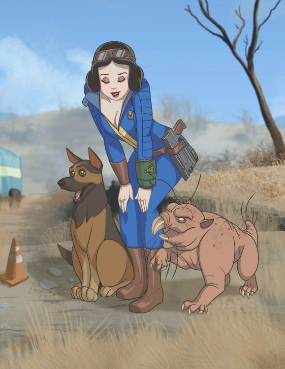 Ilustración de blancanieves como un personaje del videojuego Fallout 4