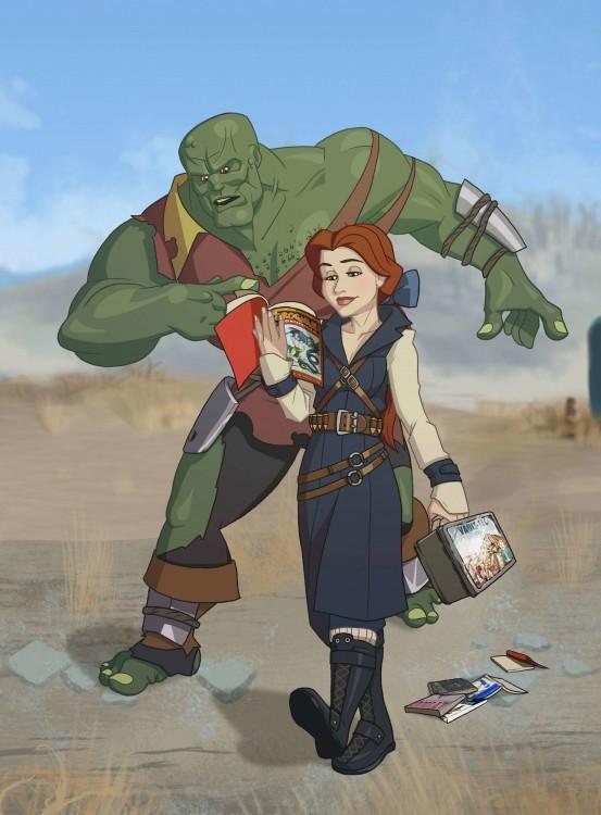 ilustración de la princesa Bella como un habitante del famoso videojuego Fallout 4