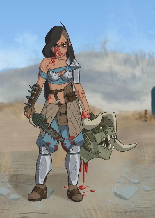 la princesa Jazmine con el diseño de un habitante del videojuego Fallout 4