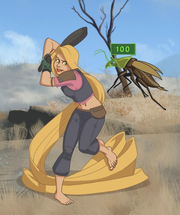 rapunzel ilustrada como un personaje del videojuego Fallout 4