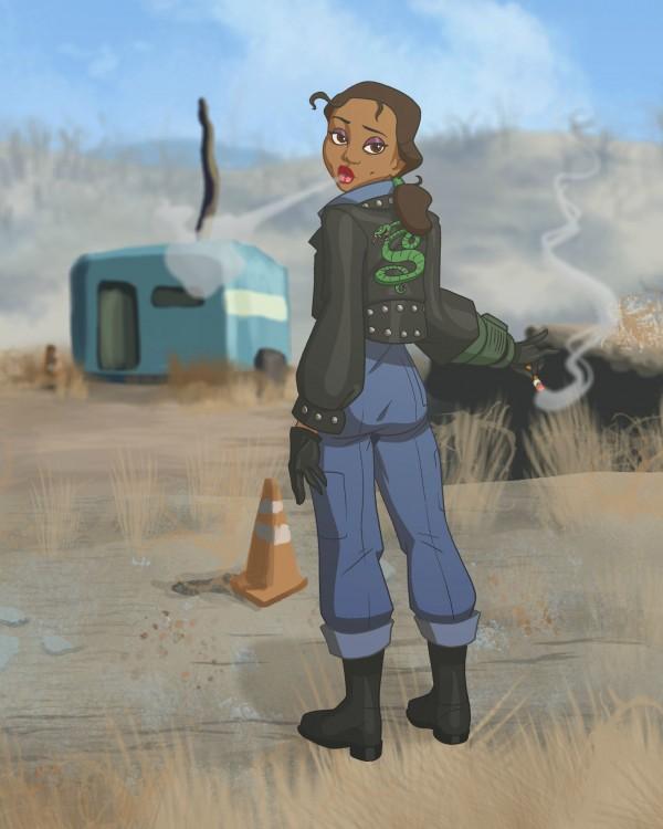 La princesa triana ilustrada como un personaje del Fallout 4