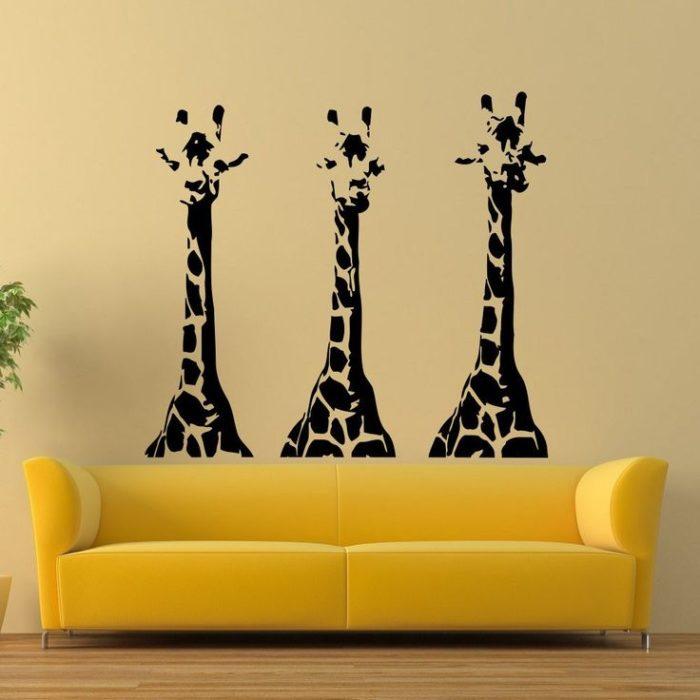 decoración de pared con calcomanías de jirafas