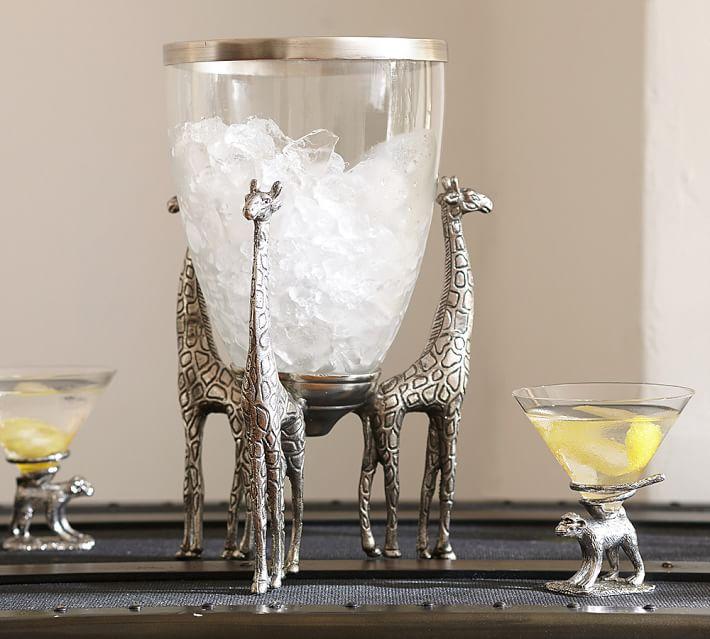 hielera de cristal en forma de jirafa