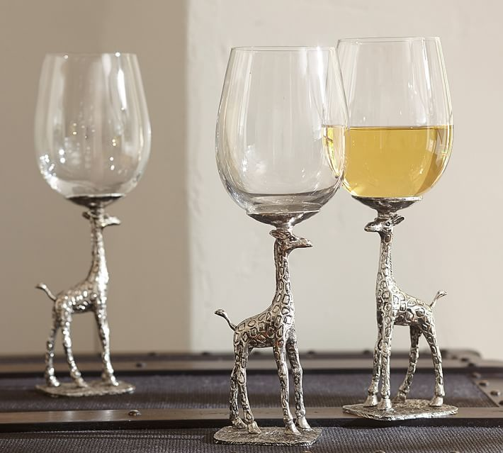 copas de cristal con base en forma de jirafa