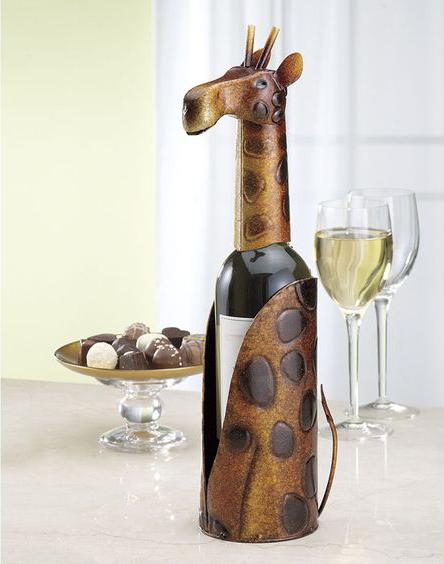 sujetador de botella de vino en forma de jirafa