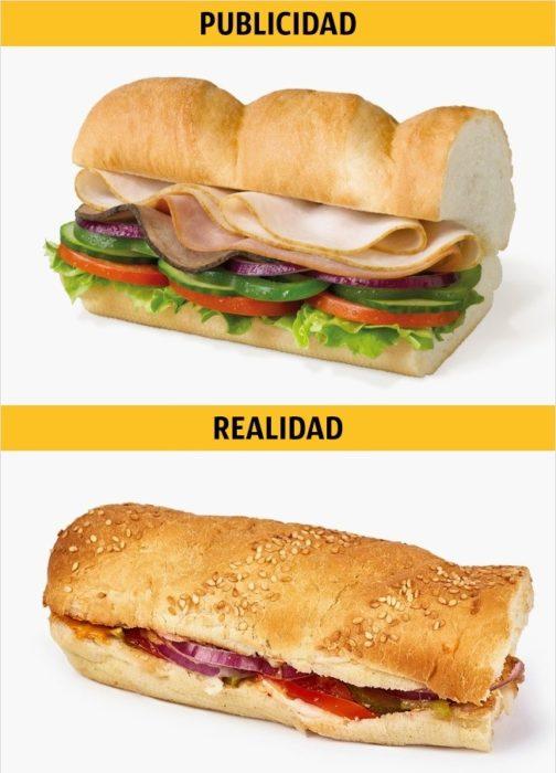 PUBLICIDAD/REALIDAD, un Subway de pollo y tocino