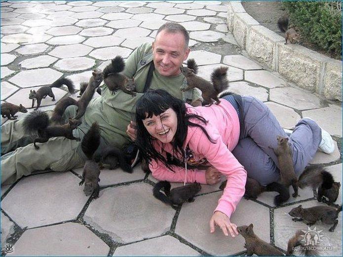 una pareja está en el piso rodeada por muchas ardillas que los huelen y están jugando con ellos