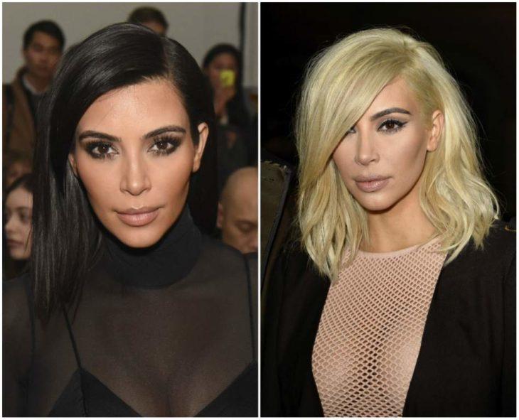 kim kardashian con el cabello negro y rubio