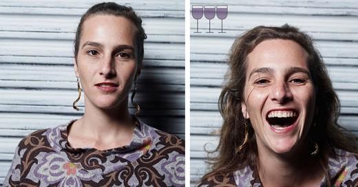 Fotógrafo captura imágenes de personas antes y después de haber tomado 3 copas de vino