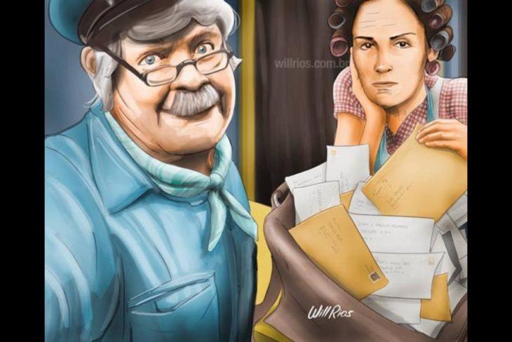 ilustración will ríos selfie de jaimito el cartero y doña florinda