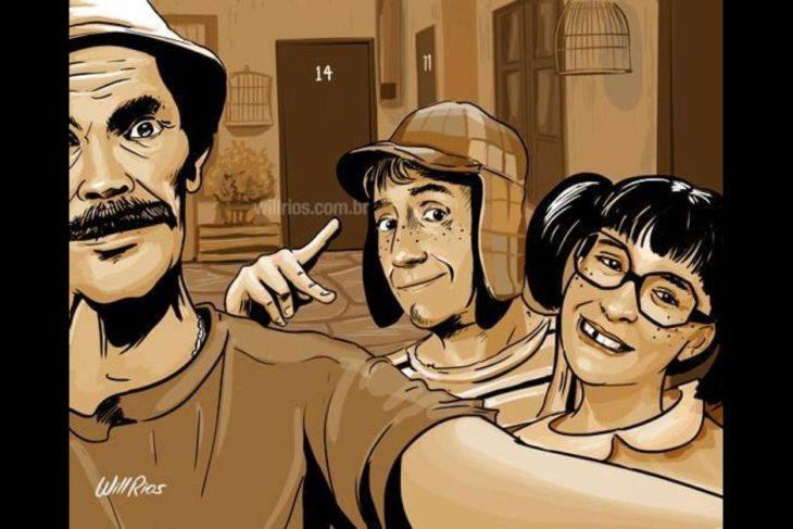 ilustración will ríos selfie de don ramón, el chavo y la chilindrina