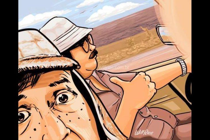 ilustración will ríos selfie el chavo y el señor barriga de viaje