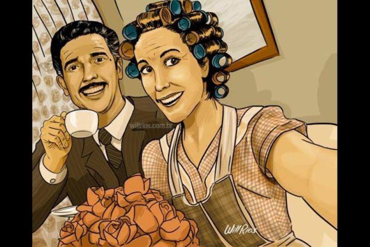 ilustración will ríos selfie de doña florinda y el profesor jirafales tomando el café