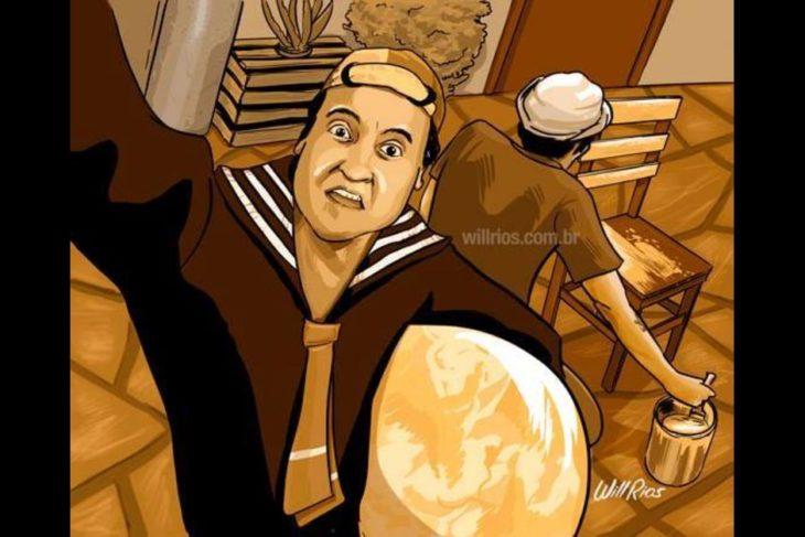 ilustración will ríos selfie de quico con su pelota