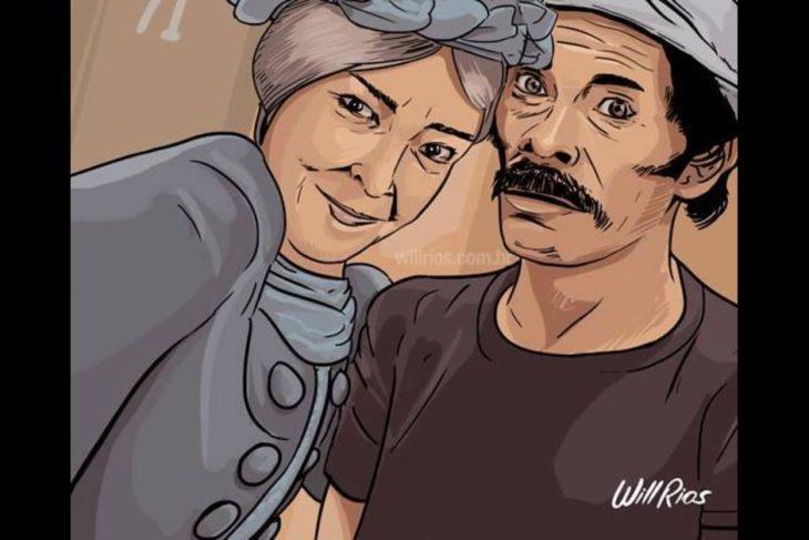 ilustración will ríos selfie de la bruja del 71 y don ramón