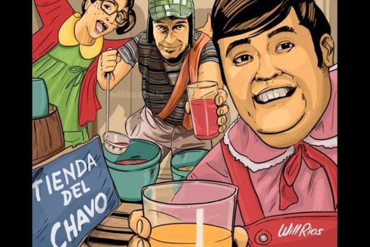 ilustración will ríos selfie de ñoño, la chilindrina y el chavo vendiendo aguas frescas