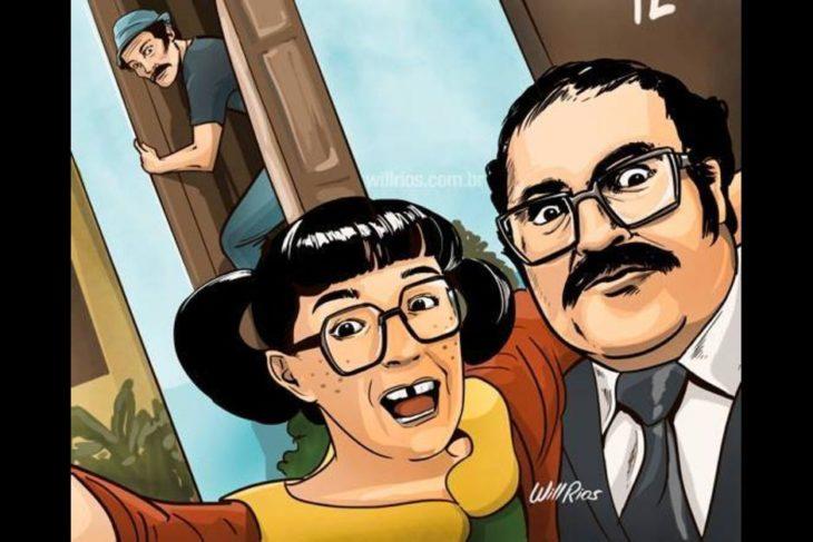ilustración will ríos selfie de la chilindrina y el señor barriga mientras don ramón sale por la ventana