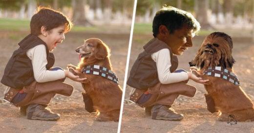imagen de este niño y su perro disfrazados de Han Solo y Chewbacca batalla de photoshop