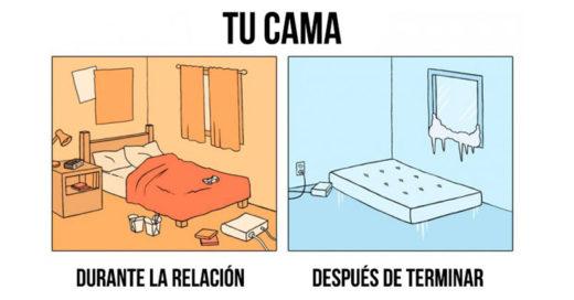 Ilustraciones que explican el antes y el después de una relación