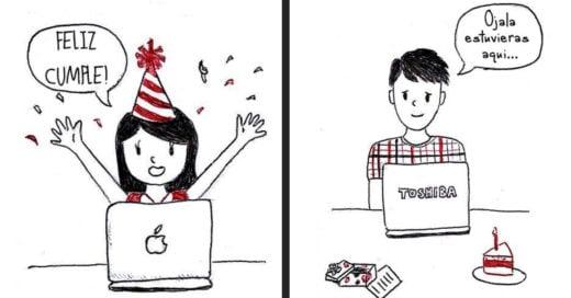 Ilustraciones de una relación a distancia