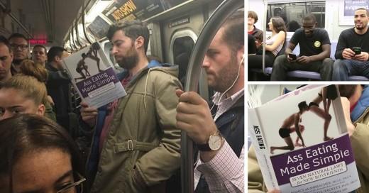 El cómico Scott Rogowsky puso a prueba la insensibilidad de sus compañeros de viaje en el metro simulando leer hilarantes libros con tapas falsas.