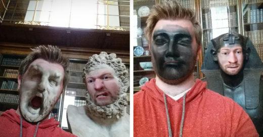 El hizo divertida su visita al museo con la Swap Face de su teléfono