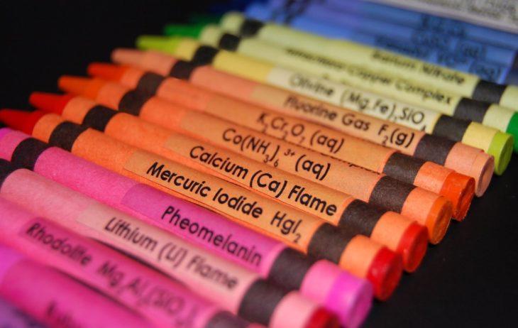 crayones con los nombres químicos