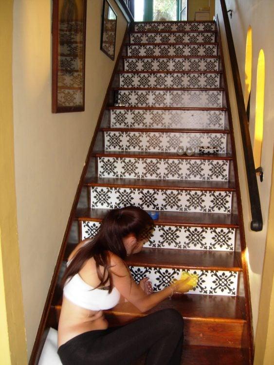 escaleras decoradas con papel vinil