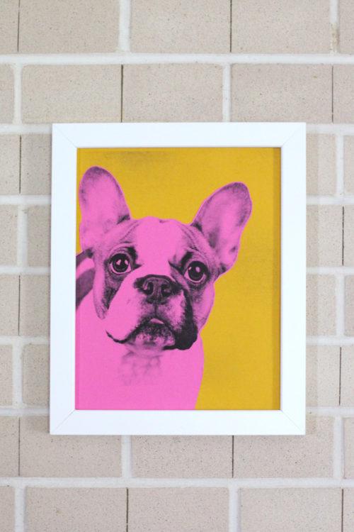 cuadro de perro tipo pop art