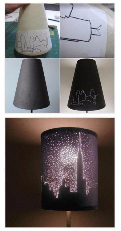 lampara con figuras de una ciudad