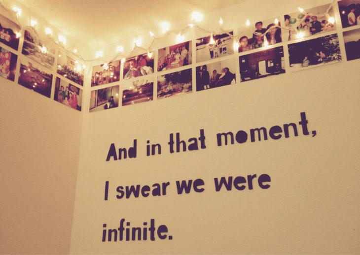 fotografías pegadas en la pared con una frase bonita
