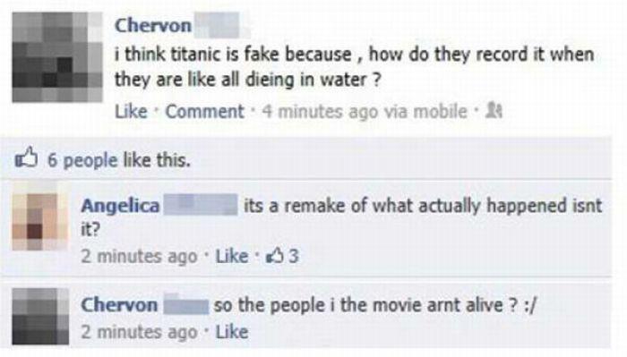 Estados de internet ridículos, un hombre cree que los personajes de la película Titanic están muertos