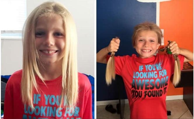 niño se dejó crecer el cabello dos años para donarlo a una asociación para niños con cáncer