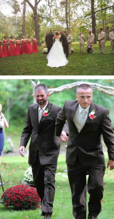 papá y padrastro de la novia la encaminan al altar