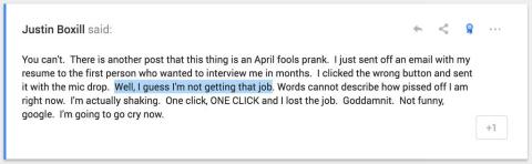 foto de google, hombre pierde entrevista de trabajo, aprils fool day