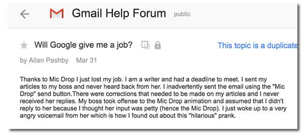 foro de google april's fool day hombre pierde su trabajo