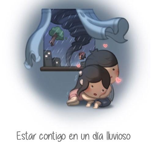 ilustración amor es estar contigo en los días lluviosos