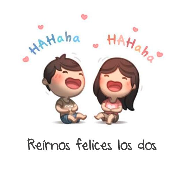ilustración amor es reír felices los dos