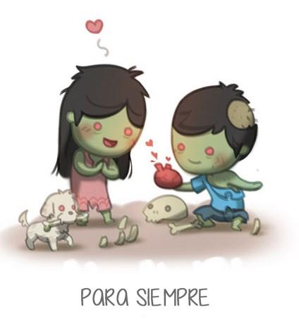 ilustración amor es para siempre zombies