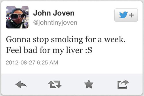 Chico deja de fumar; le preocupa su hígado