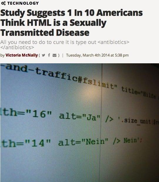 Americanos piensan que HTML es una ETS