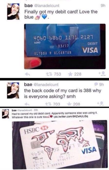Mujer comparte en Twitter su código de seguridad de su tarjeta