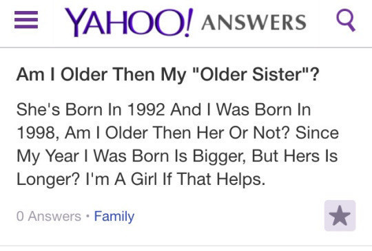 Chica pregunta en Yahoo si es más grande que su hermana mayor