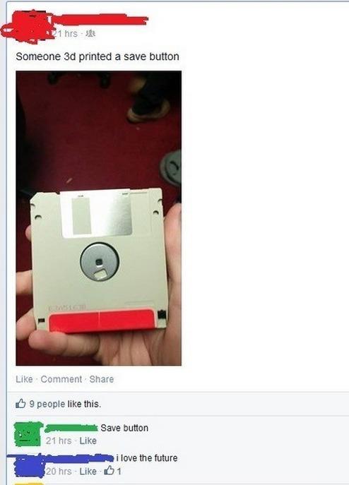 """Alguien toma una foto de un disquete y asegura que es una impresión en 3D del botón de """"Guardar"""""""