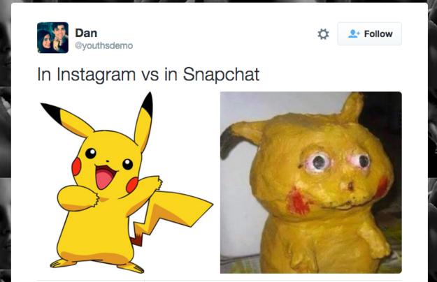pikachu en instagram y snapchat
