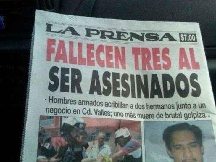 Ironía, nota periódico que dice que fallecen 3 al ser asesinados